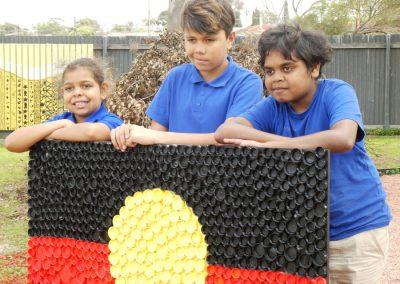 The boys with Aboriginal flag