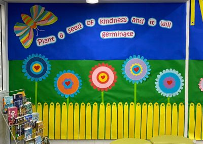 school mural with art work on it